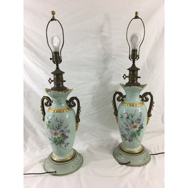 Baby Blue Old Paris Springtime Lamps With Hand-Painted Toile Base - a Pair For Sale - Image 8 of 11