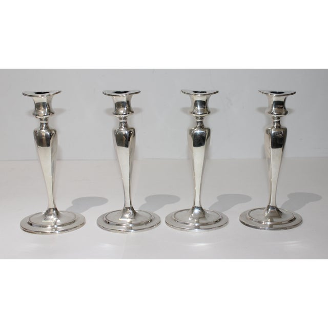 Mid-Century Modern Vintage Tiffany Sterling Candle Holders #17659 Oval Base Curved Oval Top - a Set of 4 For Sale - Image 3 of 13