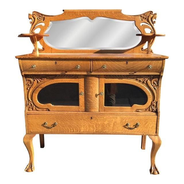 Victorian Oak Sideboard Server With Carved Griffins - Image 1 of 9