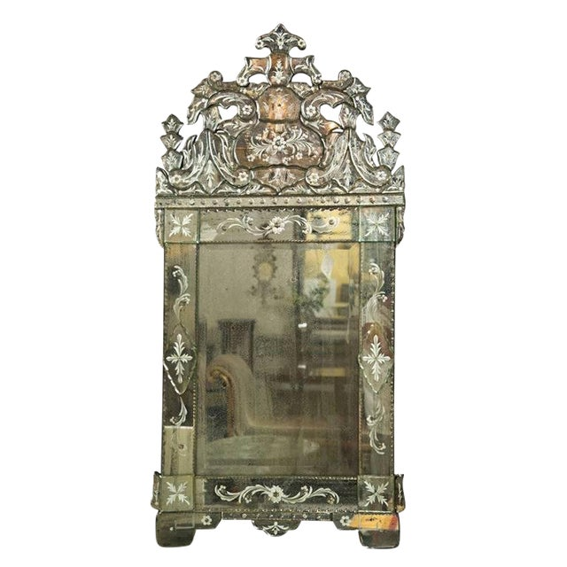 German Distressed Venetian Style Mirror Beautifully Cut Crest W/ Etching Detail For Sale