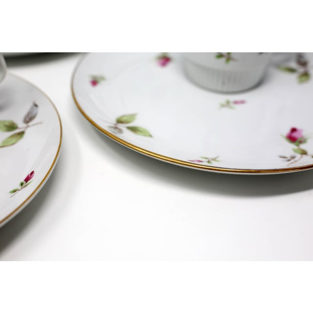 1970s Chinoiserie Royal Geoffrey Rosebud Snack Plates and Cups - 12 Piece Set For Sale - Image 4 of 13