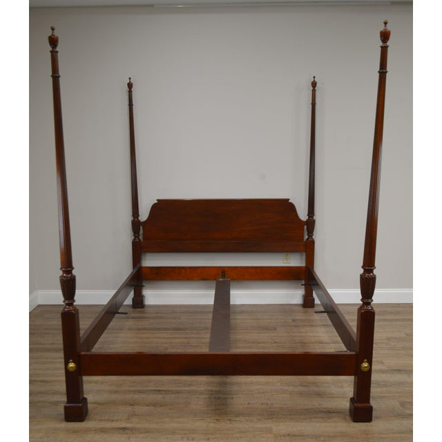 Chippendale Baker Mahogany Queen Size Chippendale Style Poster Bed For Sale - Image 3 of 13
