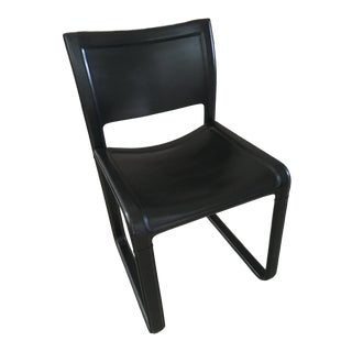 Vintage Mid Century Matteo Grassi Sistena Strap Black Leather Dining Chair For Sale