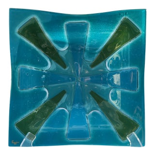 Higgins Mid Century Blue Green Art Glass Dish For Sale