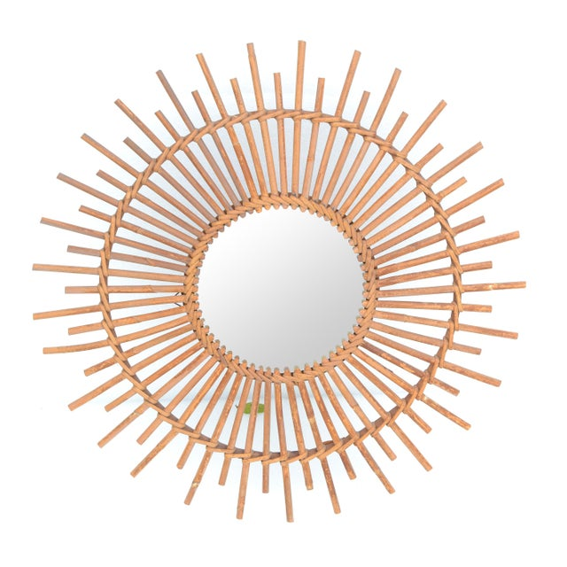 Bohemian Chic French Handcrafted Round Ficks Reed & Woven Wicker Wall Mirror For Sale - Image 10 of 13