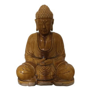 Marigold Chinese Majolica Glaze Drip Seated Mediation Buddha Statue