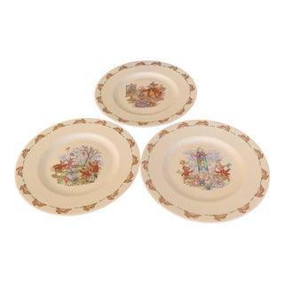 Mid 20th Century Royal Doulton Bunnykins English Bone China Plates - Set of 3 For Sale