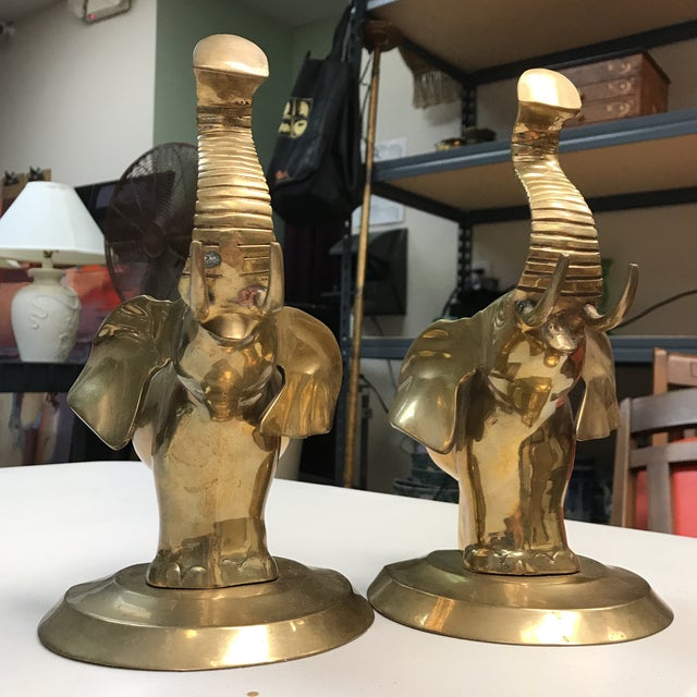 Brass Elephant Bookends - A Pair For Sale - Image 10 of 10