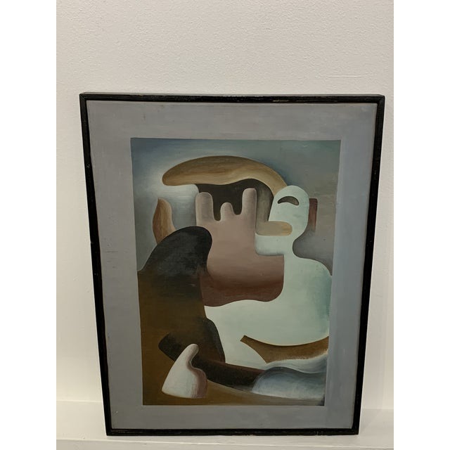 """Canvas 1930s Surrealist Painting """"Primitive in Eclipse"""" by William Gamble For Sale - Image 7 of 7"""