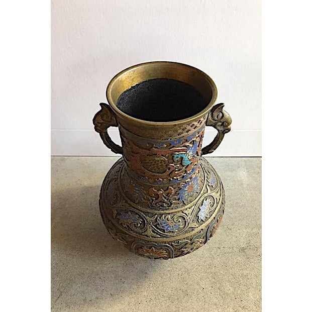 Vintage Japanese Brass Champleve Vase With Handles - Image 3 of 6