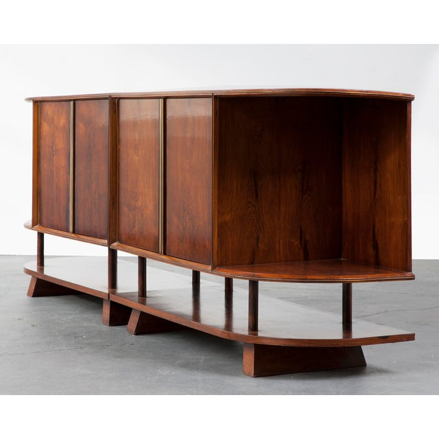 Brown Two-piece credenza For Sale - Image 8 of 8