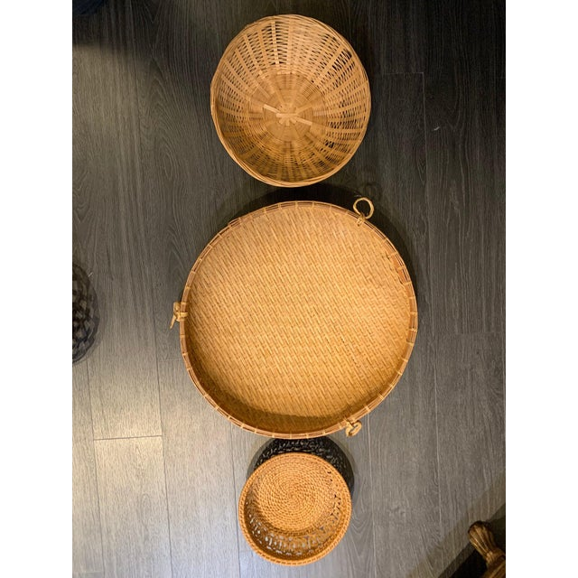 Pretty, rattan basket trio to add to your bohemian basket collage. Vintage Condition with wear as shown. Measurements:...