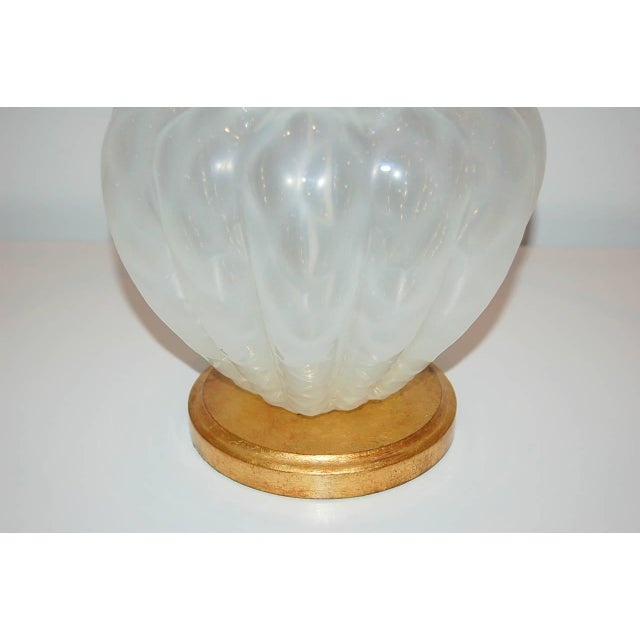 1960s Marbro Murano Opaline Glass Table Lamps White For Sale - Image 5 of 10