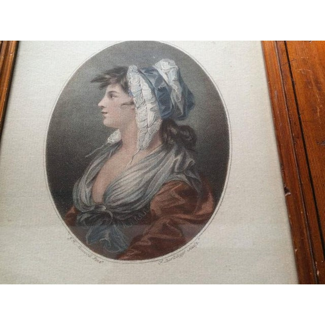 Stipple and etching, printed in dark brown ink with hand-coloring. Likely the original late 18th century frame and thus...