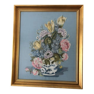 1990s Vintage Chinoiserie Framed Embroidery For Sale