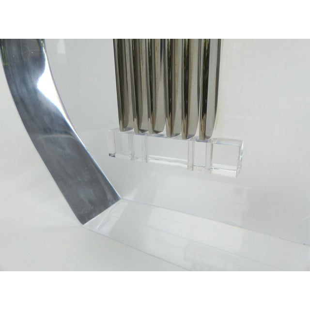 Custom Lucite and Stainless Steel Sculpture of a Guitar For Sale - Image 12 of 13