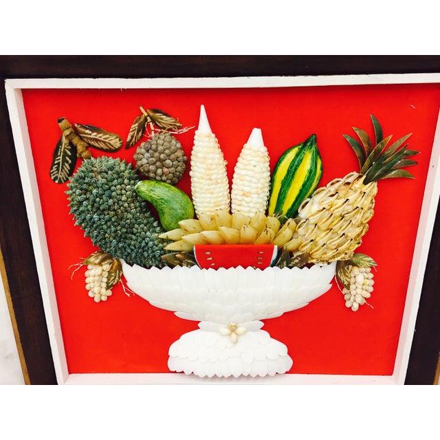 Vintage Folk Art Seashell Fruit Basket Painting in Frame For Sale - Image 4 of 11