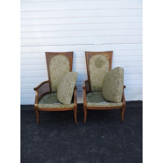 Mid Century Pair of Tall Caned Living Room Side Chairs by Thomasville Preview