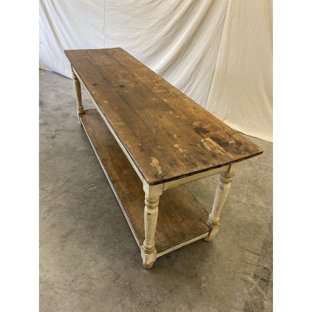 Rustic French Farm Console Table - 19th C For Sale - Image 9 of 12
