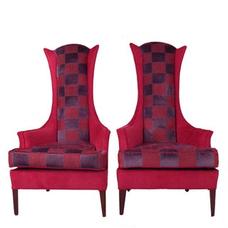 Hot Pink Osborne and Little Greek Key Highback Wing Chairs - Pair For Sale