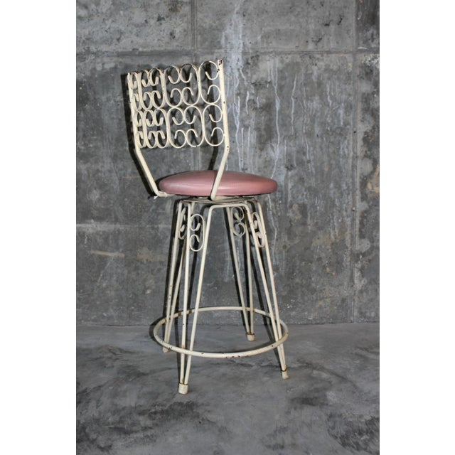 Arthur Umanoff Arthur Umanoff Mid-Century Wrought Iron Bar Stools - a Pair For Sale - Image 4 of 8