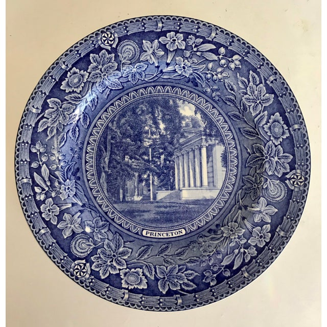 Blue 1930 Wedgwood Princeton University Blue and White Dinner Plate Set of 9 For Sale - Image 8 of 12