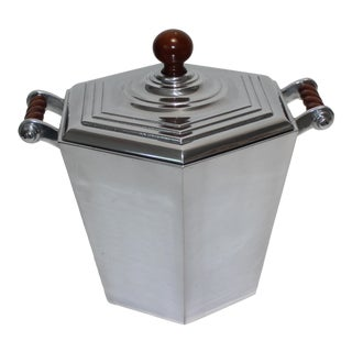 Vintage Reed & Barton Ice Bucket Art Deco Revival Polished Aluminum For Sale