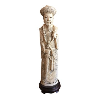Early 20th Century Carved Ivory Colored Chinese Emperor For Sale