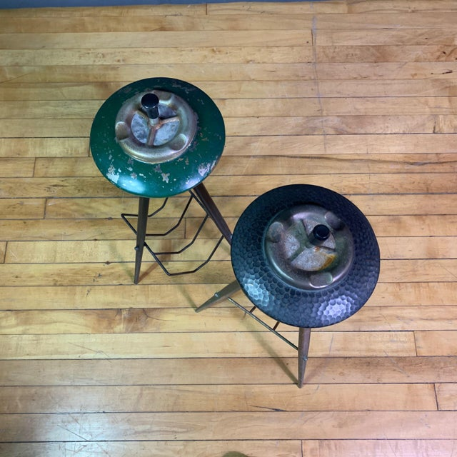 Pair 1940s Italian Painted Metal Standing Ashtrays For Sale - Image 11 of 12