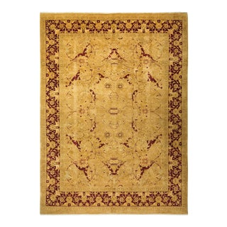 """Mogul, One-Of-A-Kind Hand-Knotted Area Rug - Gold, 9' 2"""" X 12' 7"""" For Sale"""