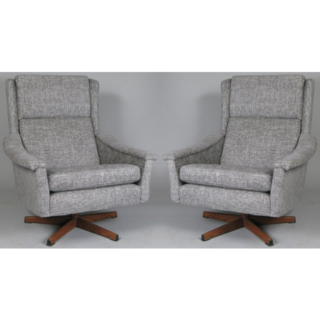 1950s Danish High Back Swivel Lounge Chairs - a Pair For Sale - Image 13 of 13