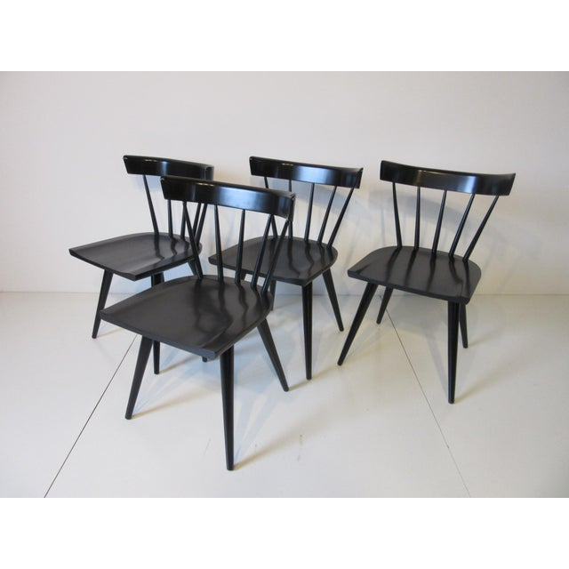 Mid-Century Modern Paul McCobb Planner Group Black Maple Spindle Back Dining Chairs - Set of 4 For Sale - Image 3 of 8