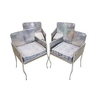 Modernist Vintage Mid-Century Designer Stainless Steel Frame Armchairs For Sale