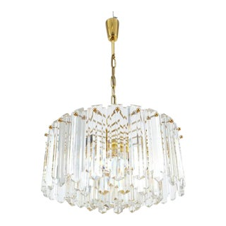 J.T. Kalmar Tiered Crystal Glass and Gold Brass Chandelier Lamp, Austria 1960 For Sale