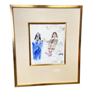"""Blu Basset"" by James Martin Gouache on Paper Circa 1995 For Sale"