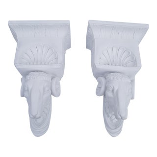French Hollywood Regency White Plaster Rams Head Wall Brackets -a Pair For Sale