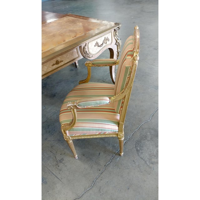 19th Century French Louis XVI Gilt Wood Fauteuils Chairs-A pair For Sale - Image 9 of 9