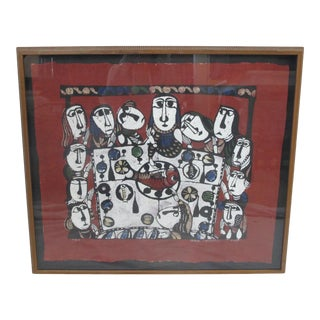 Sadao Watanabe Japanese Signed Limited Edition Framed Katazome Last Supper For Sale