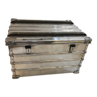 1950s Vintage German Polished Metal Trunk For Sale