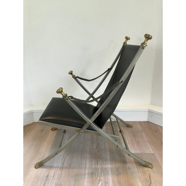 Mid-Century Modern Pair of Maison Jansen Campaign Armchairs For Sale - Image 3 of 5