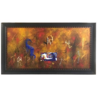 Striking and Large Horizontal Contemporary Painting For Sale