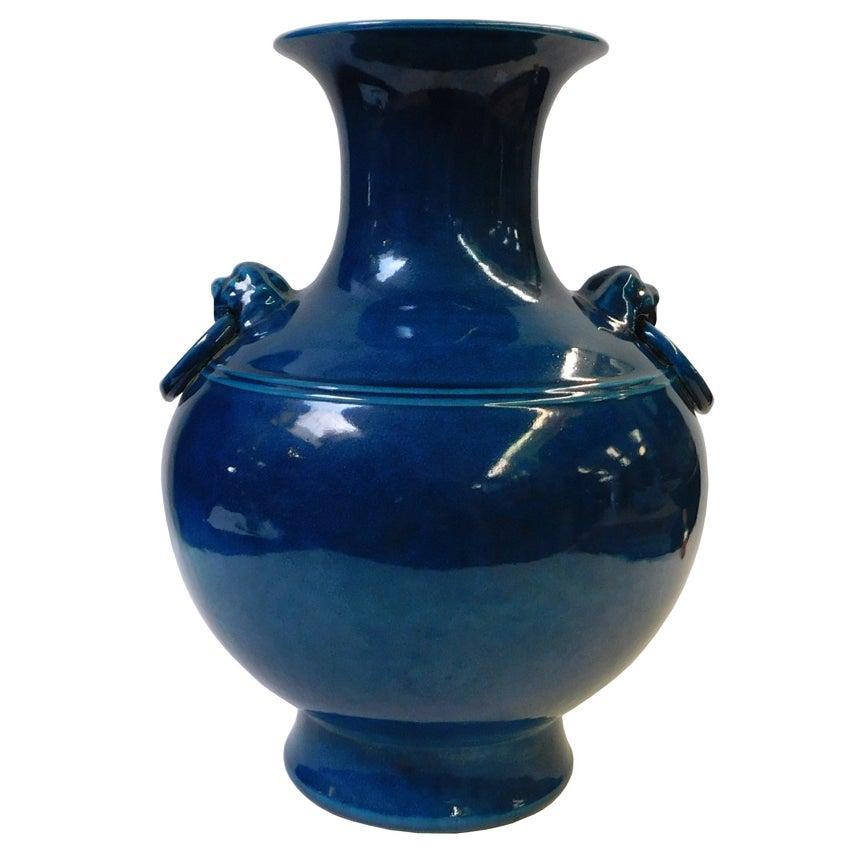 Chinese Navy Blue Round Vase Chairish