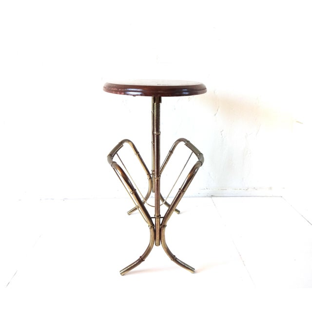 Vintage Mid-Century Modern Brass Faux Bamboo Side Table & Magazine Rack For Sale - Image 4 of 10