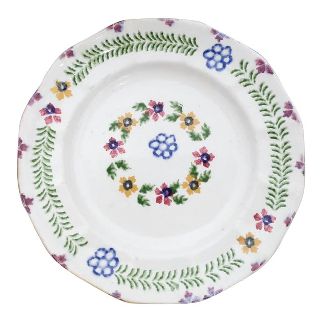 Vintage Repurposed William Adams Ironstone China Hand Painted Decorative Vanity Dish For Sale