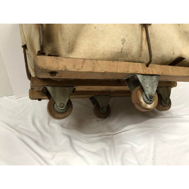 Vintage Industrial Canvas Laundry/Postal Cart For Sale - Image 10 of 11