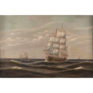 Mid 19th Century Ocean Scene With Clipper Ships Oil Painting Preview