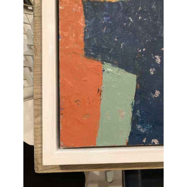 Navy Blue Mid-Century Danish Color Story on Board in Custom White Washed Floater Frame For Sale - Image 8 of 13