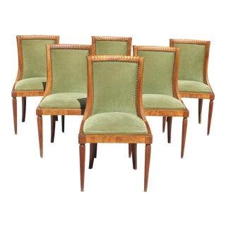 1940s French Art Deco Gondola Burl Walnut Dining Chairs - Set of 6