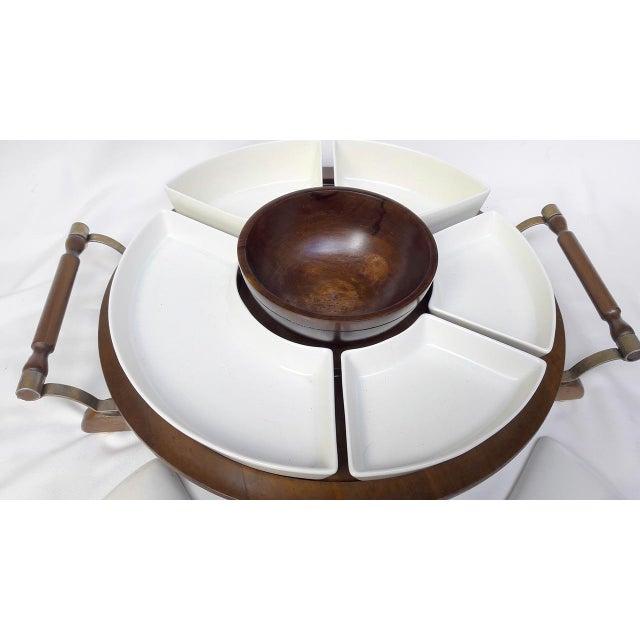 Vintage Retro Ceramic & Wooden Lazy Susan Relish Tray - Image 5 of 8