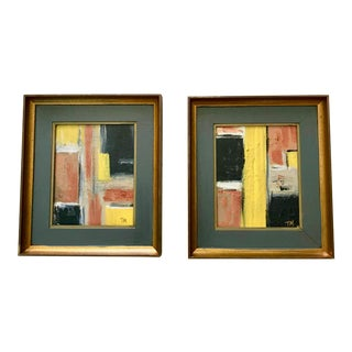 Mid Century Style Painting by Tony Marine- A Pair For Sale